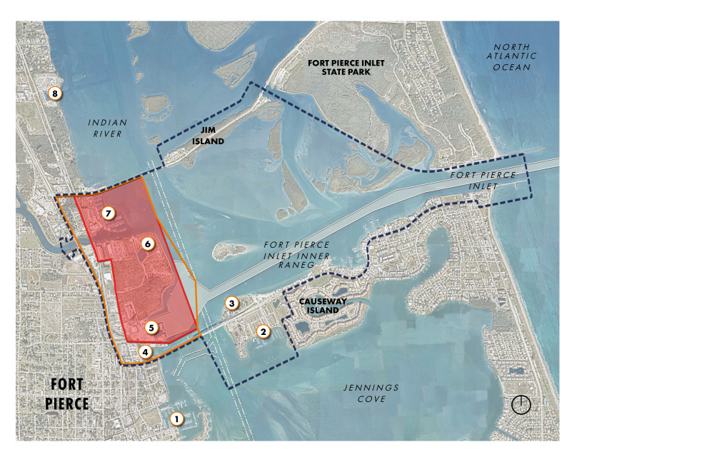 This image shows the regional context of the Port of Fort Pierce with north orientation. The view extent is from Riverside Marina in the top left, Fort Pierce City Marina in the bottom left, Causeway Island in the lower right, and Fort Pierce Inlet State Park in the top right. Indian River, Fort Pierce Inlet, and Jennings Cove are also called out. The Port Planning Area is demarcated by a dashed navy-blue outline and is approximately 1,546 acres. The Port Operations Area is approximately 258 acres and is represented by an orange boundary. The Port Study Area is approximately 256 acres and is denoted by a red outline with a semitransparent fill.  Moving chronologically through the regional context map, 1. Fort Pierce City Marina, is located in the lower left. 2. Causeway Cove and 3. Museum Point Park are both located on Causeway Island, with Causeway Cove to the south of Seaway Drive, and Museum Point Park to the north of Seaway Drive. 4. Fisherman's Wharf is located within the Port Operations Area and is south of the Project Study Area. 5. Harbor Pointe Park is located in the northeastern corner of the Project Study Area. 6. Safe Harbor Harbortown is located northwest of Harbor Pointe Park, south of North Causeway and within the Port Operations Area.