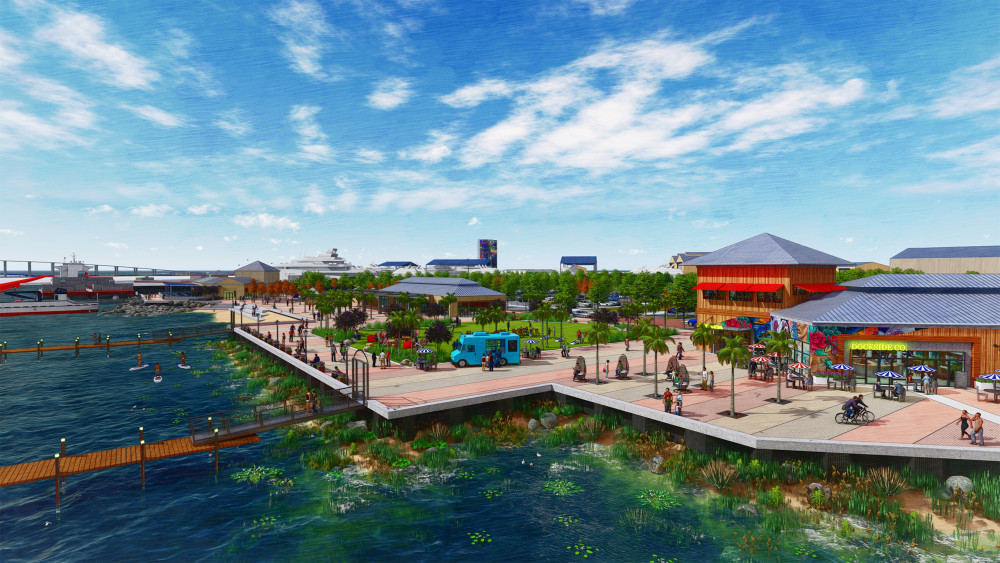 This image shows a perspective rendering of the Harbour Point waterfront, activated by a variety of public space and urban uses for the public to enjoy. Food and beverage and retail uses are evident in the right side of the image, with red and white / blue and white striped umbrellas providing shade for outdoor seating. Palm trees puncture the paving in the waterfront esplanade and various seating arrangements allow people to sit and observe the marina and water. A large open lawn in the middle of the rendering allows people to congregate for various activities. A food truck is set up adjacent to the lawn. Along the esplanade, lighting fixtures, seating and two entrances to the docks create an edge condition. Three paddleboarders are seen enjoying the water between the marina docks and waterfront edge. There is a small beach with seating steps for those interested in getting access to the water. In the back of the image, a mega-yacht is visible along with activity from the shipyard.